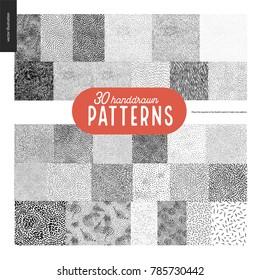 Hand drawn black and white 30 patterns set. Fur or leaves seamless black and white patterns