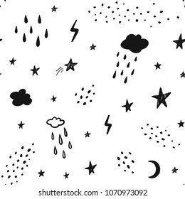 Hand drawn black and white abstract seamless pattern. Rain, stars, clouds, lightning, space background