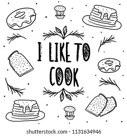 Hand Drawn Black and White breakfast food Doodle card. Illustrations Drawing Vector Sketch with toast, pancake, donut,  cupcake for textile, fabric, wallpaper, menu, restaurant, card, poster, t shirt