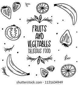 Hand Drawn Black and White breakfast food Doodle card. Illustrations Drawing Vector Sketch with tomato, orange, strawberry, milk, banana, rosemary for textile, fabric, menu, restaurant, card, poster,