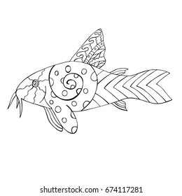 Hand drawn black and white Catfish. Zentangle fish for kids coloring book. Vector illustration.