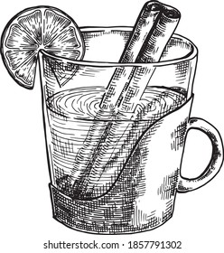 Hand drawn black and white crosshatch vector illustration of a cup of rum toddy, with a lemon slice on the side and a cinnamon stick submerged. No background.