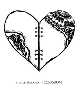 Hand drawn black white design illustration of a heart with lacing. Tattoo. Coloring book pattern. Vector doodle illustration.