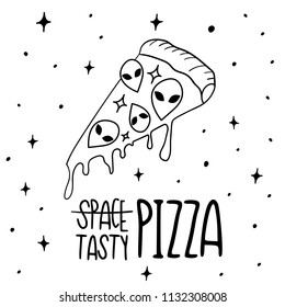 Hand Drawn Black and White Doodle pizza space with UFO card. Illustrations Drawing Vector Sketch for textile, print, postcard, text, invitation, poster, background, book,