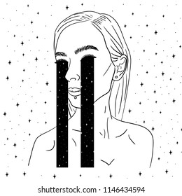 Hand Drawn Black and White Doodle girl crying space art card. Illustrations Drawing Vector Sketch for textile, print, postcard, text, invitation, poster, background, book, t-shirt, wallpaper