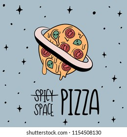 Hand Drawn Black and White Doodle space whole pizza card. Illustrations Drawing Vector Sketch for textile, print, postcard, text, invitation, poster, background, book, t-shirt print, design, wallpaper