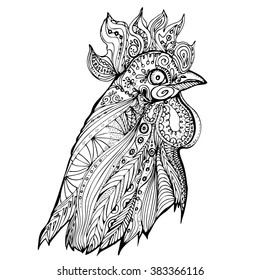 hand drawn black and white doodle birds rooster. Ethnic patterned vector illustration. African, indian, totem, tribal, design. Sketch for adult antistress coloring page, tattoo, poster, print, t-shirt