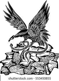 Hand drawn black and white eagle with snake. Vector.