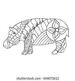Hand drawn black and white Hippo. Hand drawn zentangle for coloring book page and for relax and meditation, adult antistress. Vector illustration.