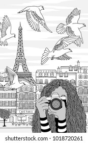 Hand drawn black and white illustration of a young woman taking photos in Paris, France