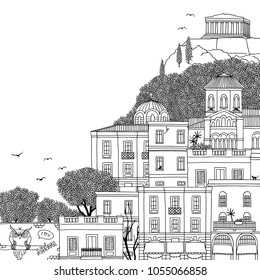 Hand drawn black and white illustration of Athens, Greece with empty space for text