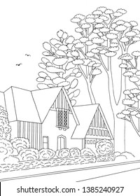 Hand drawn black and white illustration of a middle class suburban neighbourhood with houses, yard, pavement and trees