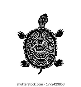 Hand drawn black and white illustration of Painted turtle, Chrysemys picta in linocut style.