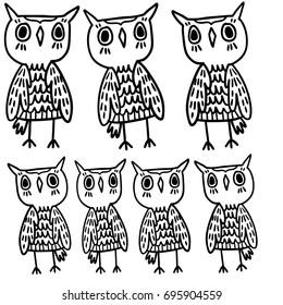 Hand Drawn Black White Illustration Owl Fly Bird Art Coloring Book