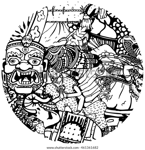 Hand Drawn Black and White India Collage in the Circle