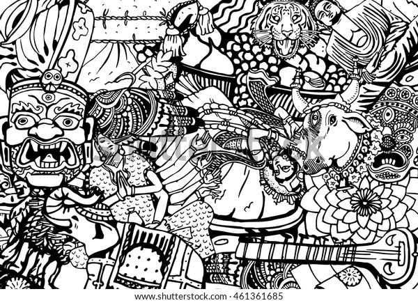 Hand Drawn Black and White India Collage