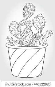 Hand drawn black and white line art vector illustration of Fried Chicken Drumsticks in a Bucket.