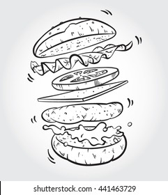 Hand drawn black and white line art vector illustration of jumping Burger ingredients; burger bun, lettuce, tomato slice, cheese, meat, mayonnaise.