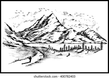 Hand Drawn black and white mountain landscape vector illustration with lake bird forest pine trees