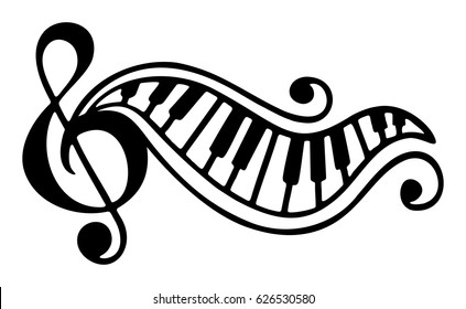 Hand drawn black and white music logo.