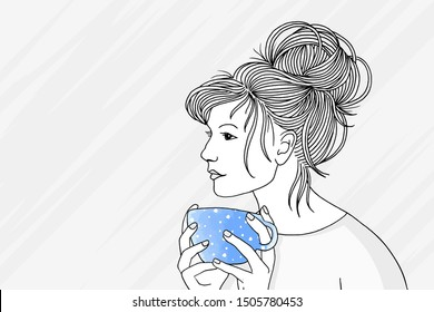 Hand drawn black and white portrait of a young pensive woman holding a bright blue cup of morning coffee