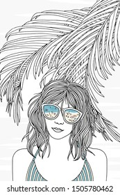 Hand drawn black and white portrait of a young woman in swimwear with sunglasses reflecting tiny people at the beach