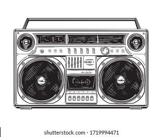 Hand drawn black and white retro boombox tape recorder