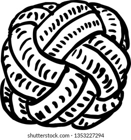 Hand drawn Black and White Rope Knot Graphic Design