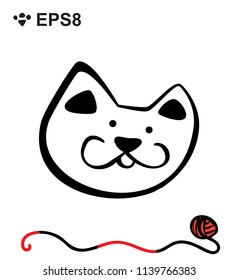 Hand Drawn Black and White Simple Doodle Cat Icon. Vector Sketch Illustration Isolated
