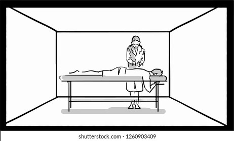 Hand drawn black and white sketch with woman masseur and her patient.