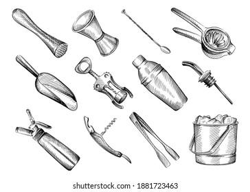Hand drawn Black and white sketch set of Bar inventory. Muddler; jigger; measuring cup; bar spoon; squeezer; ice tongs; corkscrew; scoop; cream dispenser; ice bucket; shaker; Bar geyser, dispenser