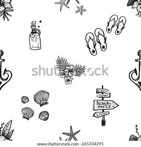 28c63af5e Set of isolated sea summer beach party wedding decorative elements. Black  outline sketch