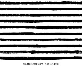 Hand drawn black white striped seamless pattern vintage background for wallpaper. Paint stripes lines watercolor vector. Modern fashion texture linen fabric background. Cool seamless striped pattern.