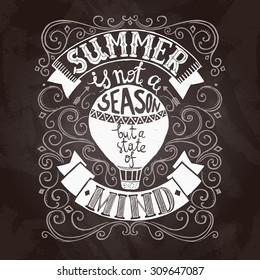 Hand drawn black and white summer poster with hot air balloon vector illustration