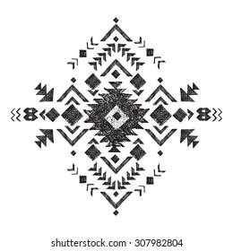 hand drawn black and white tribal design element