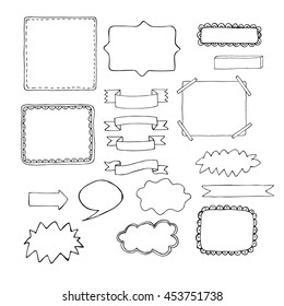 Hand drawn black and white vector frames. Doodle ink illustration