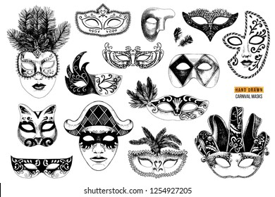 Hand drawn black and white venetian carnival masks collection. 14 unique elements. Vector illustration