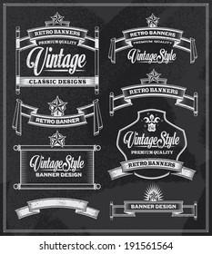 Hand drawn blackboard banner and ribbon vector illustration with texture added. Black chalkboard background. Label and artwork decoration. Set of calligraphic elements, frames, vintage labels.