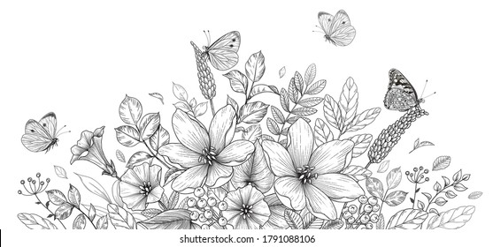 Hand drawn blooming flowers and butterflies on blank background. Black and white different wildflowers. Vector monochrome elegant floral composition in vintage style, coloring page.