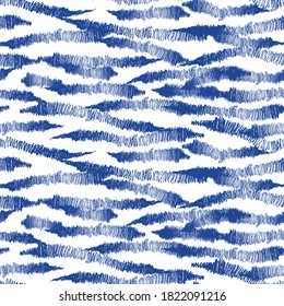 Hand drawn blue abstract lines seamless pattern