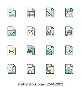 Hand drawn blue and beige file type icons. File format is EPS8.