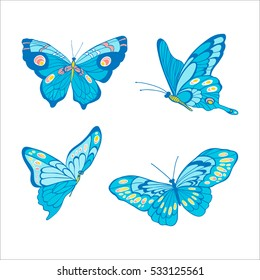 Hand drawn blue butterfly on white background. Vector illustration