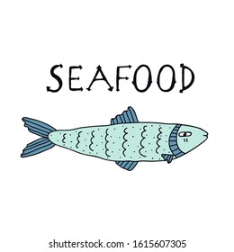 Hand drawn blue color fish and lettering