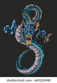 Hand drawn Blue Dragon vector painting , Dragon for Japanese tattoo