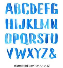 Hand drawn blue oil painting font.