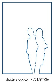 Hand Drawn Blue Want Ad with Business People Silhouettes