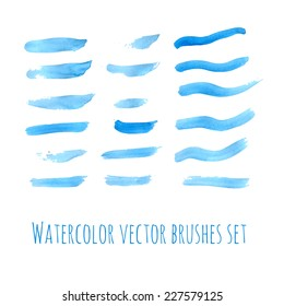 Hand drawn blue watercolor brushes set. Vector illustration.