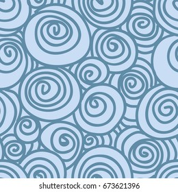 Hand Drawn Blue Waves and Spirals Seamless Pattern. Repeating graphic design. Hand drawn elements.