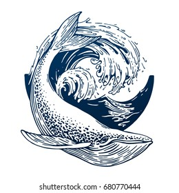 Hand drawn blue whale vector round illustration. Big wave and sea fish in vintage style. Outdoor activity travel symbol, tourism. Engraved illustration for poster, tattoo, t-shirt and card design.