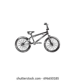 Hand Drawn Bmx Sketch Symbol. Vector Extreme Biking Element In Trendy Style.